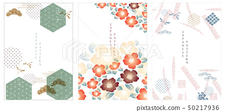 Japanese template and icon vector.Flower backgroun 50217936