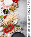 Homemade spaghetti pasta with quail eggs  50219744