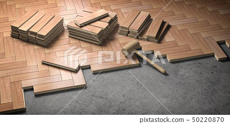 Wood parquet laid on the floor. House construction 50220870