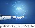 An outstretched robotic hand with a digital semi-clear circle graph hovering about it. 50221862