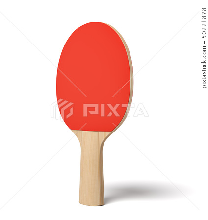 3d close-up rendering of ping pong racket with wooden handle and red rubber on white background. 50221878