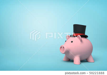 3d front close-up rendering of pink piggy bank wearing black top hat with red ribbon on light-blue 50221888