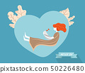 mother with baby on heart shape background 50226480