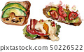 Sandwich in a watercolor style isolated. Watercolour fast food illustration element on white 50226522