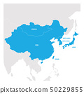 East Asia Region. Map of countries in eastern Asia. Vector illustration 50229855