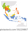 Southeast Asia Region. Map of countries in southeastern Asia. Vector illustration 50229867