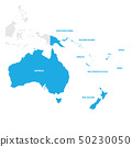 Australia and Oceania Region. Map of countries in South Pacific Ocean. Vector illustration 50230050
