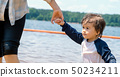 Toddler boy holding hands with his mother in a big lake 50234211