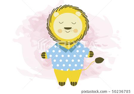 Cute smiling cartoon lion in blue shirt - vector 50236785