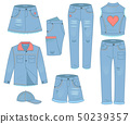 Womens clothing set of blue jeans. Fashion design urban casual style 50239357