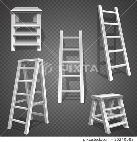 Steel vector staircases. Metal ladder, aluminum stairs vector