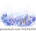 Abstract building in the city watercolor painting. 50240209