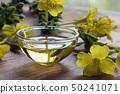 Evening primrose oil in a glass bowl  50241071