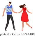 Girlfriend. Beautiful young couple and romantic, boy and girl together. Happy relationship vector 50241409