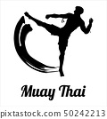 Man fighting Muay Thai or Thai boxing, Vector  50242213