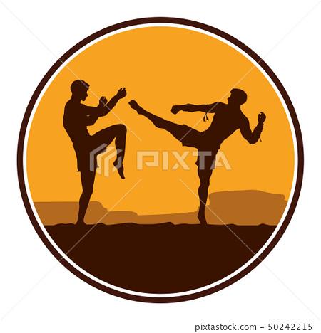 Two men fighting Muay Thai or Thai boxing 50242215