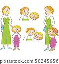 好朋友母親和孩子出去設置面部表情 50245956