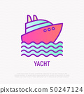 Yacht on waves thin line icon. Vector illustration 50247124