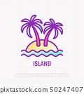 Island thin line icon: palms, sand and sea. 50247407