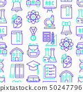 Back to school seamless pattern with line icons 50247796