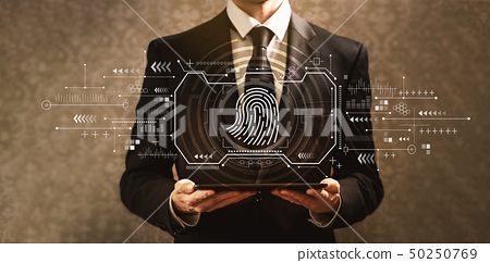 Fingerprint scanning theme with businessman 50250769