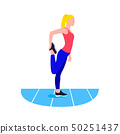Fit woman stretching. Warmup. Girl do sports, workout. 50251437