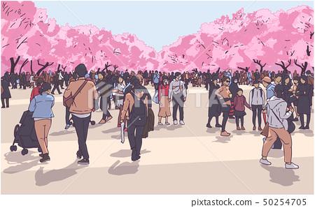 Cherry blossom viewing crowd Ueno Park Tokyo 50254705