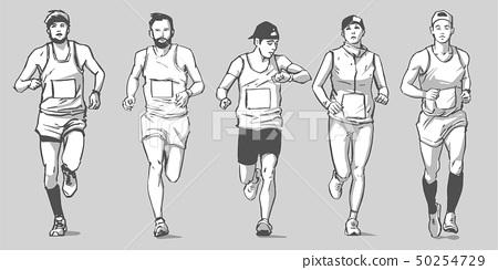 Illustration of marathon long distance runners 50254729