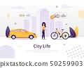 Woman Prefering Driving Bicycle to Car Banner. 50259903
