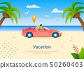 Couple Going on Vacation on Cabriolet Vehicle. 50260463