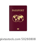 International biometric passport cover page. Red 50260808