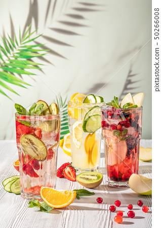 Cold summer fruit lemonade drinks, refreshment 50266008
