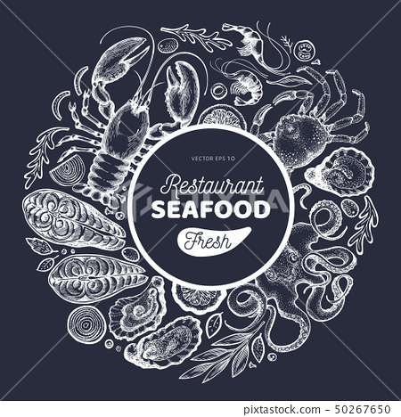 Seafood and fish design template. Hand drawn 50267650