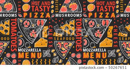 Typographic vector Italian pizza and ingredients 50267651