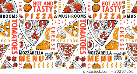 Typographic vector Italian pizza and ingredients 50267656