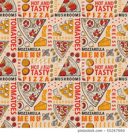 Typographic vector Italian pizza and ingredients 50267660