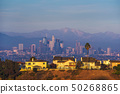 Luxury villas of Los Angeles in California with city skyline in the background 50268865