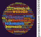 Word Welcome in different languages word cloud con 50269699