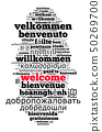 Word Welcome in different languages word cloud con 50269700