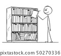 Cartoon of Man Taking Book From the Bookcase. 50270336