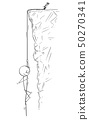 Cartoon of Man or Businessman Abseiling or Roping Down the Rock or Cliff on the Rope 50270341