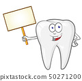cartoon tooth with signboard, clip art vector 50271200