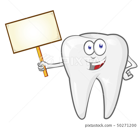 cartoon tooth with signboard, clip art vector 50271200