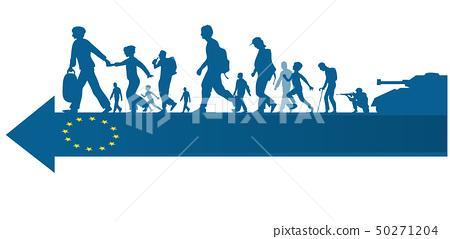 immigration people silhouette moving to  european 50271204