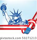 USA flag with statue of liberty 50271213