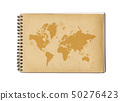 Vintage world map on an old notebook 50276423