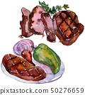 Grilled steak tasty food. Watercolor background illustration set. Isolated steak illustration 50276659