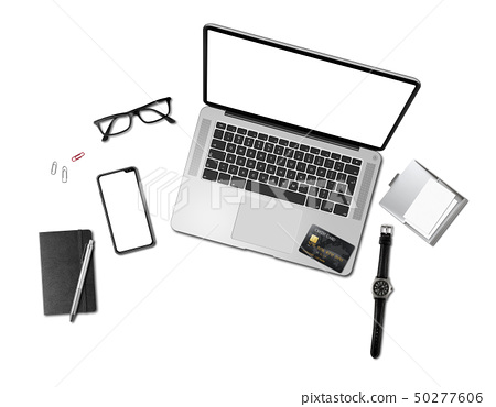Office desk mockup top view isolated on white 50277606