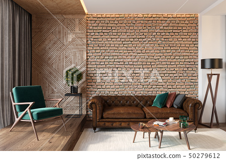 Modern living room interior with brick wall, leather brown sofa, green lounge chair 50279612