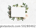 Feminine wedding, birthday mock-up. Blank paper greeting card. Floral frame of white, pink 50280462